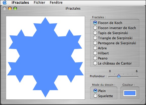 Screen capture of freeware iFractales